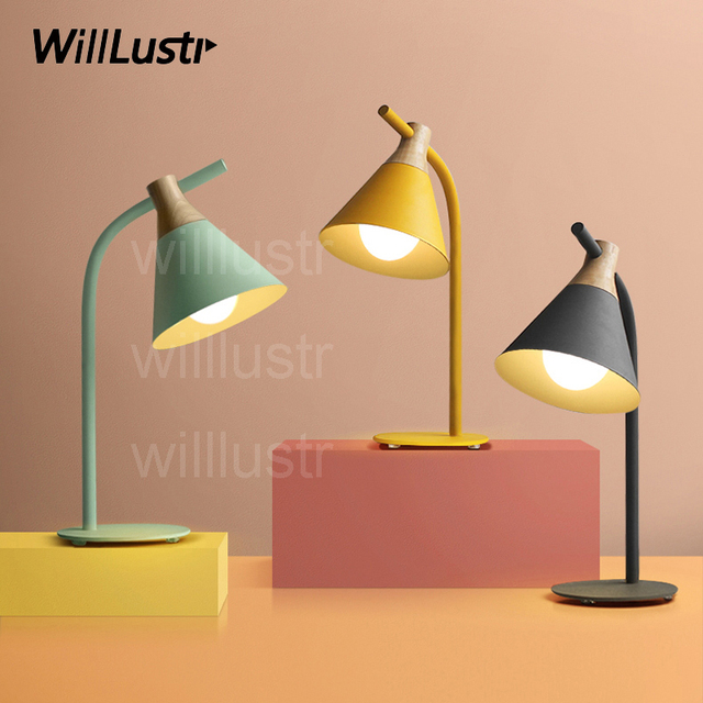 Willlustr New Iron Wood Reading Light Bedside Table Lamp Study Room Desk  Lighting Office Hotel Macaron