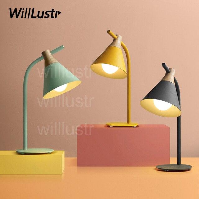 Willlustr Nouveau Fer Bois Lecture Lumiere De Chevet Lampe De Table