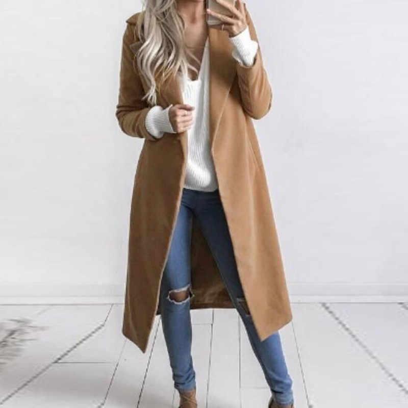6aba93a576e New Winter Autumn Coat Women Elegant Lapel Neck Casual Office Woolen Long  Trench Coat Jacket Ladies