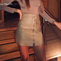La MaxPa Donne A Vita Alta O Ring Design Nero Breve PU in pelle Con Cerniera A-Line Vent Midi Gonna Longuette Plus Size Femminile ngizerskaya