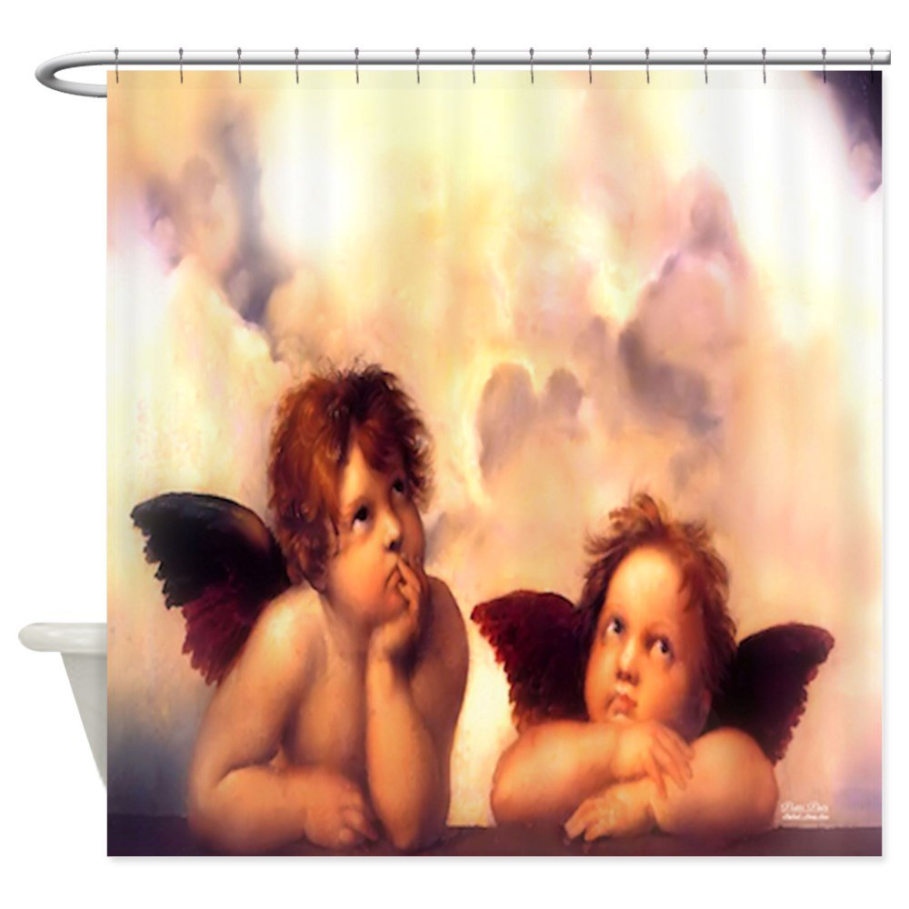 Putti Pair Angels Decorative Fabric Shower Curtain
