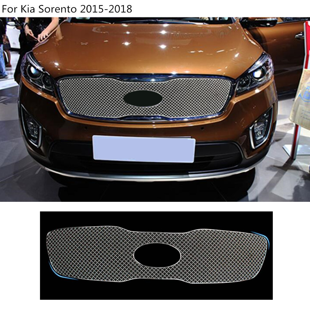 Car styling body cover protection Metal trim racing Front up Grid Grill Grille molding 1pcs For Kia Sorento 2015 2016 2017 2018