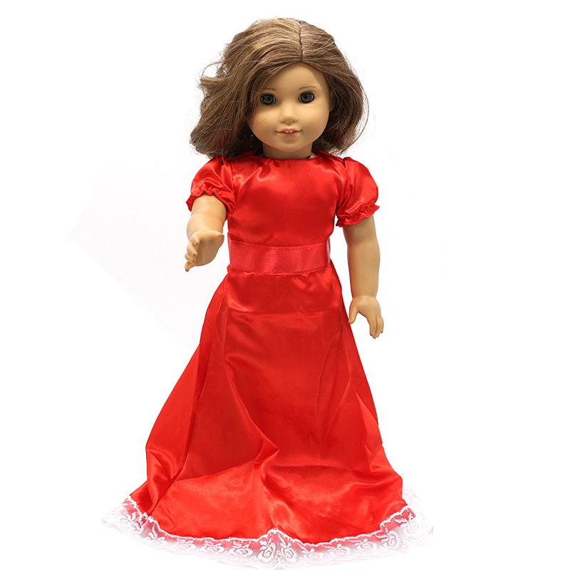 Doll Accessories American Girl Doll Clothes Red Purple Long Dress for 16-18 inch Dolls Girl Gift X-10 drop shipping handmad 18 inch american girl doll clothes princess anna dress fits 18 american girl doll mg 032