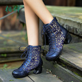 Fashion Women handmade Boots genuine leather cut out sexy ankle boots comfort high-heeled boots lacing up