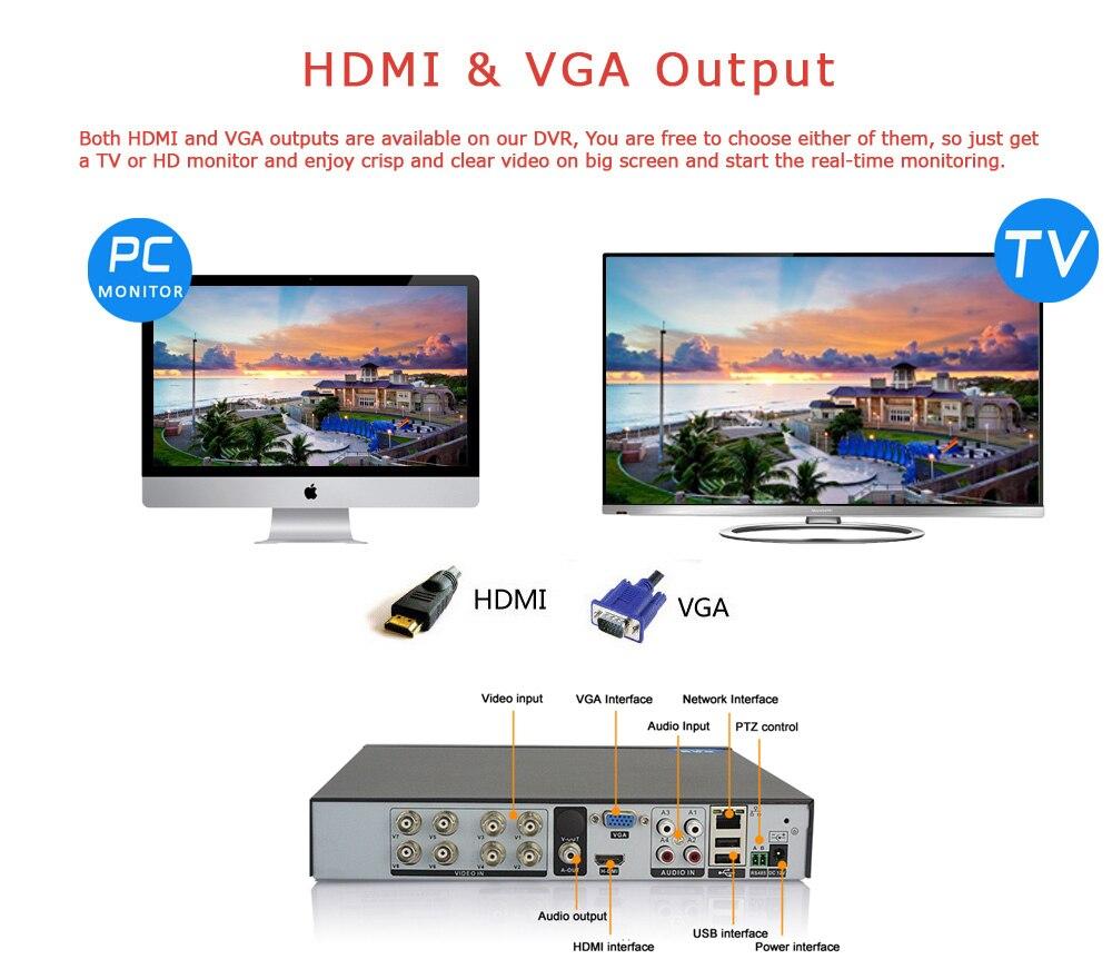 8CH 1080N TVI.CVI .AHD 5 In1 Hybrid DVR Video Recorder AHD DVR Night Vision Dome Surveillance Camera with IR CUT 1200TVL 720P