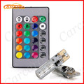 1 Set 5050 SMD RGB LED T10 194 168 W5W Car Wedge Light 16 Colors LED Demo Lamp Bulb With Remote Controller Strobe Free Shipping