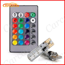 1 Set 5050 SMD RGB T10 194 168 W5W Car Wedge Light Lamp 16 Colors LED Bulb With Remote Controller Flash/Strobe Free Shipping