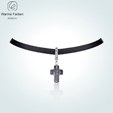 цена на WARME FARBE for Women Cross Choker Necklaces Crystal Pendant Necklace Clavicle with Black Rope Chain Collares