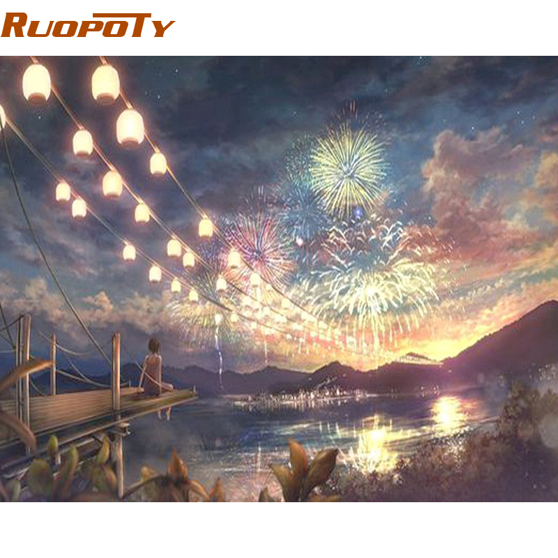 RUOPOTY Frame Fireworks At Night DIY Painting By Numbers Kits Coloring By Numbers Landscape Modern Wall Art For Living Room