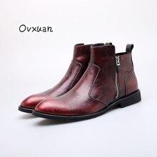 Винтаж Мексика дизайнер острый носок Для мужчин Ботинки Челси высокое молния сбоку западные ковбойские ботинки модные и банкета Мужские ботинки
