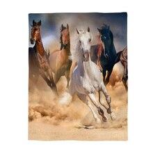 Лошади бег в пустыне одеяло мягкая фланелевая флисовая ткань мультфильм животных печатных диван дорожный плед
