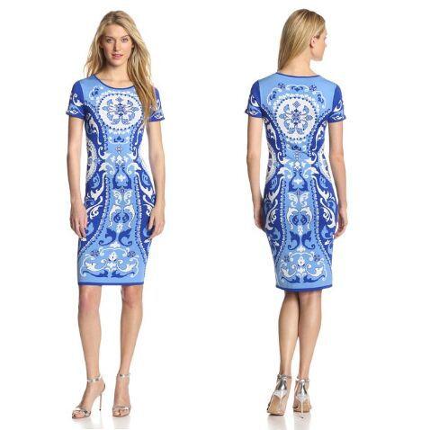 Tondo Dress Tessuto Donne Nuove Maglia Bella Blu E Porcellana Elastico Maniche Le Estate A Bianco Stampato Corte Colletto Di eHIbD2WE9Y