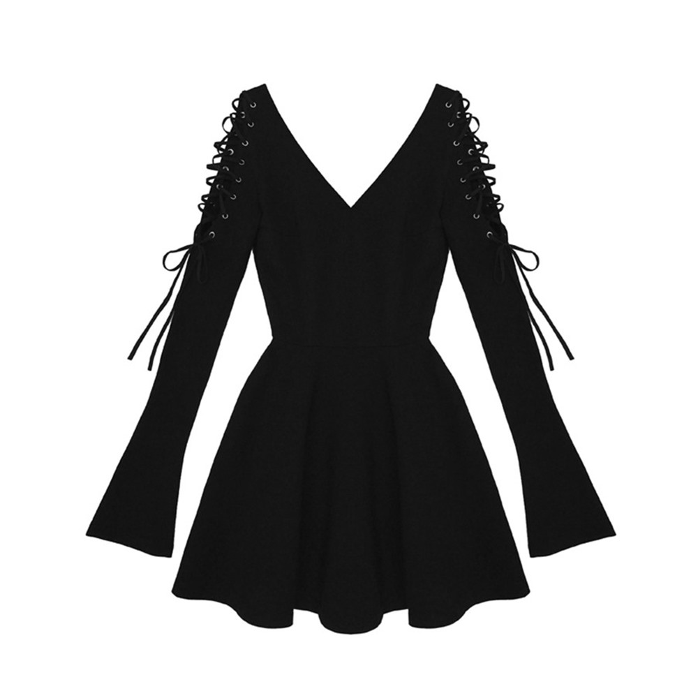 Rosetic Harajuku Goth V Neck Dress Autumn Short Mini Dress Darkness Slim Sexy Party Punk Bandage Little Black Pleated Dress