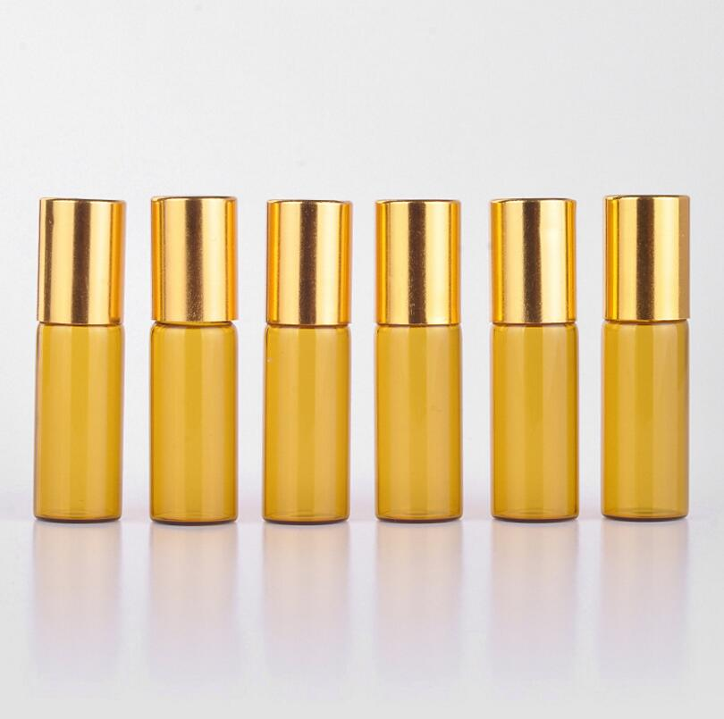 Myer Perfume Refill: Wholesale 500Pcs/Lot By Dhl Free 5ML Portable Amber Glass Refillable Perfume Bottle With Roller