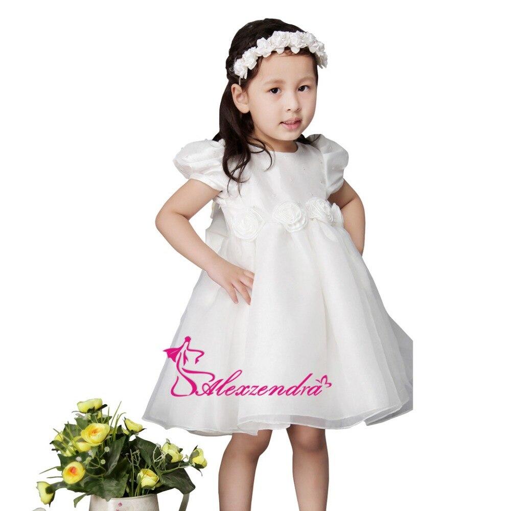 Alexzendra White Ivory Tea Length Cute Flower Girls Dresses with Sleeves Girls First Communion Dress Princess Girl Dress