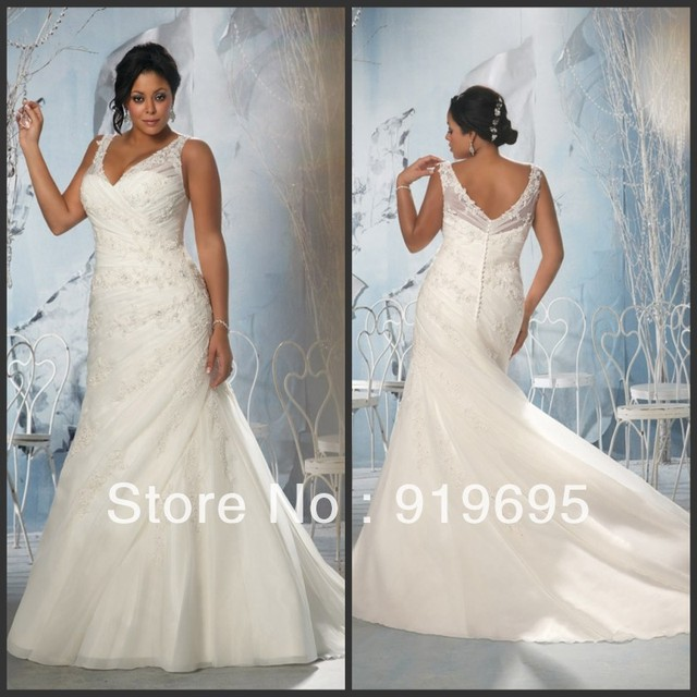 Free Shipping High Quality Cap Sleeve Lace Lique Sheath Long Train Plus Size Wedding Dress Patterns