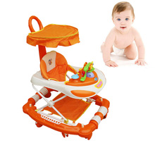 Baby Walker Musical Baby Walker with Wheels Baby Walker Seat Foldable Rocking Horse Pushchair Canopy Infant