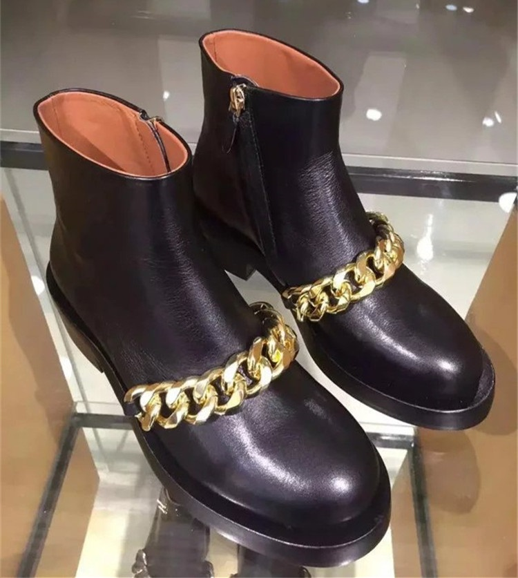 Women Chic Square Low Heel Thick Chain Boots Gold Silver Metal Decoration Ankle Boots Concise Motorcycle Gladiator Boots US10 брюки для беременных topshop 4 22