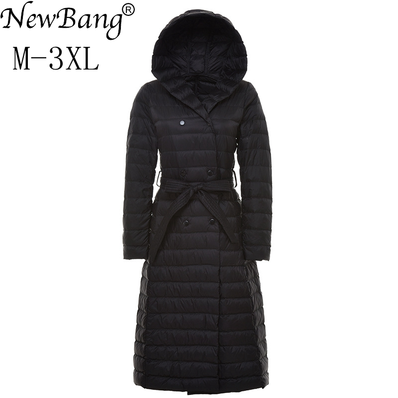 NewBang Brand Ladies Long Winter Warm   Down     Coat   Women Ultra Light   Down   Jacket Women Women's With A Hoood Overcoats Plus