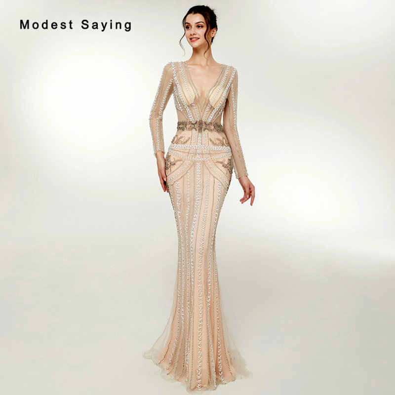 Luxury Champagne Mermaid Plunging Neck Beaded Sparkly Evening Dresses 2018  with Rhinestone Women Long Sleeves Party bc70641ceef8