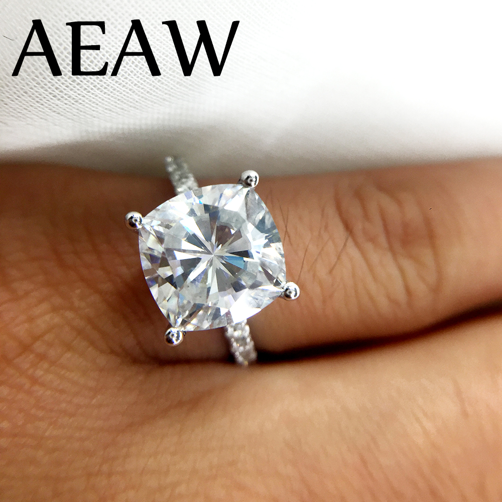 3 5 Carat Ct 9mm Cushion Cut Engagement Amp Wedding Moissanite Diamond Ring Double Halo Ring Genuine