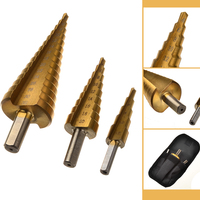 3pcs Hss Step Cone Hex Shank Titanium 4 20mm W Bag Coated Metal Drill Bit Cut
