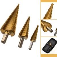 3pcs Hss Step Cone Hex Shank Titanium 4 20mm W Bag Coated Metal Drill Bit Cut
