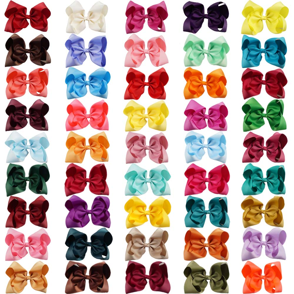 60 Color 8'' Large Hair Bows Combinations Wholesale Hair Clips One Piece Of Each Color In A Bag Hair Accessories-in Hair Accessories from Mother & Kids