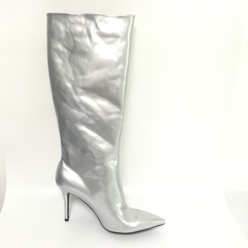 Silver Shiny Leather Women Boots Knee High Boots Women Pointed Toe Shoes Woman Boots High Heels Plush Inside Long Boots Ladies цена 2017