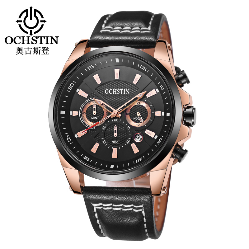OCHSTIN 2017 Top Brand Luxury Men s Fashion Quartz Watch Men Waterproof Leather Sport Watch Man