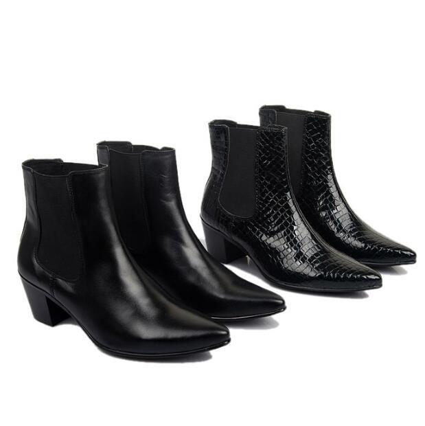 Sapato de bico fino de couro Genuíno Ankle Boots estilo Britânico elevador sapatos Masculinos Da Moda Outono Homens Ao Ar Livre botas 02