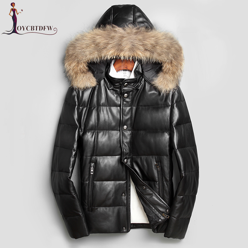 Jaqueta Couro 2018 New Winter Men Leather Down Jacket Leisure Large Size Short Hooded Fur Collar Sheep Slim Warm Coat No452