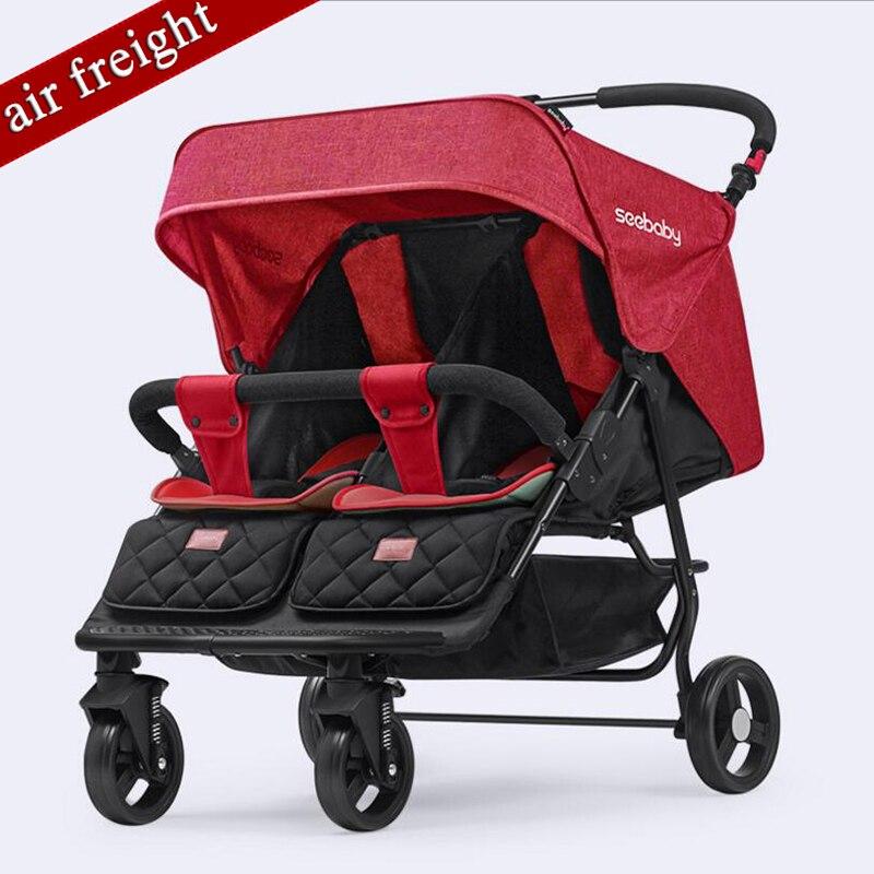 2019 jumeaux peuvent s'asseoir, peuvent poser une poussette double, poussette bébé pliante légère, adaptée aux nouveau-nés à 3 ans bébé