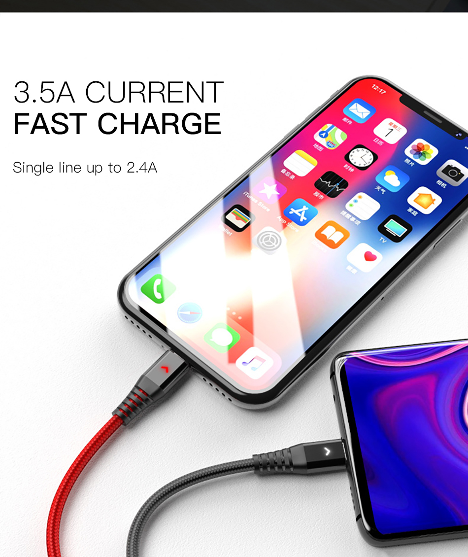 !ACCEZZ 2.4A 3 in 1 USB Cable Micro USB Type-C Charging Cable For iPhone 7 8 Plus X XS XR Android Phone For Samsung S8 Data Cord (6)