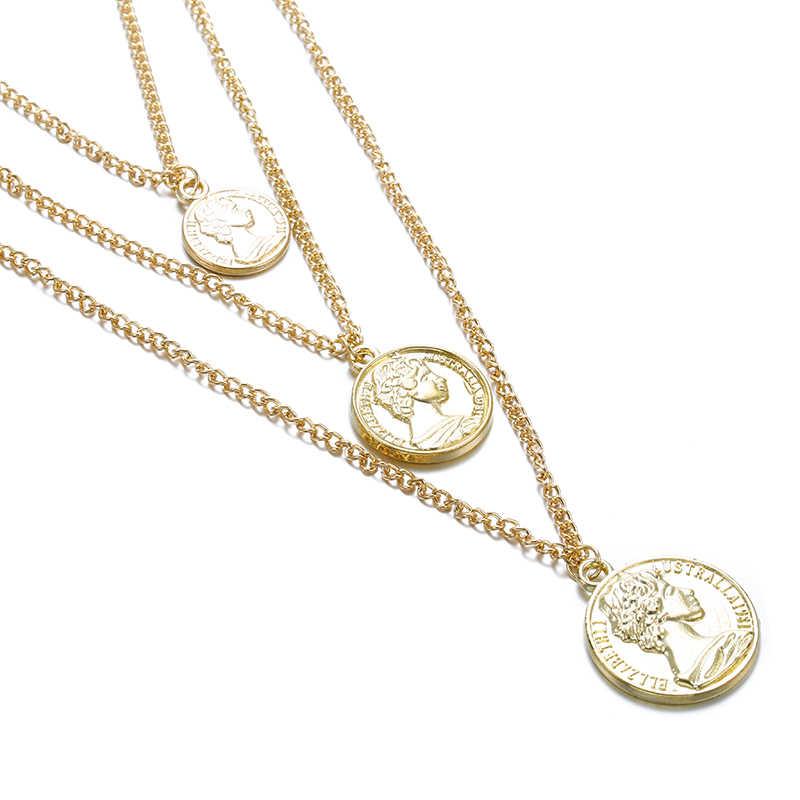 בציר מטבע שרשרת לנשים אופנה זהב צבע מדליון שרשרת מרובה שכבות תליון ארוך שרשראות Boho תכשיטי מתנה