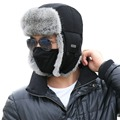 Unisex Bomber Hat For Men 100% Rabbit Fur Trapper Ushanka Russian Earflap Nylon Shell Windproof Cap