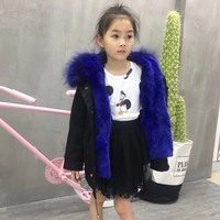 Fashion Kids Coat Real Rabbit Fur Lining Raccoon Fur Collar Jacket Women Winter Warm Real Fur Parka Detachable S1559