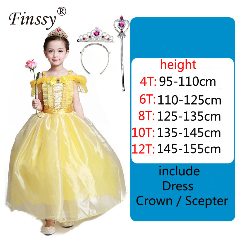 Beauty and The Beast BELLA Princess Yellow Dress Girl Stage Performance Costume Halloween Carnival Dress Up Props Crown Scepter