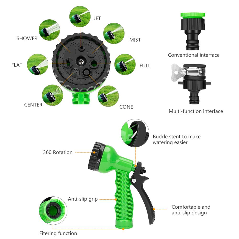 Image 2 - 25 10FT Flexible Garden Water Guns Garden Hose Pipe Multi  Function High Pressure Spray Nozzle Collapsible Hose for Garden Car-in Garden Water Guns from Home & Garden