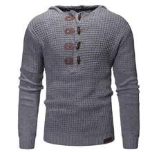 Sweater Men 2018 Mens Button Wool Sweater Pullover Long Sleeve Half-Zipper Sweaters Hooded Winter Cashmere Outerwears Men 3XL