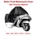 Size 2XL 265*105*125cm Motorcycle Waterproof Scooter Cover UV resistant Heavy Racing Bike Indoor Outdoor Cover Black&Silver D10