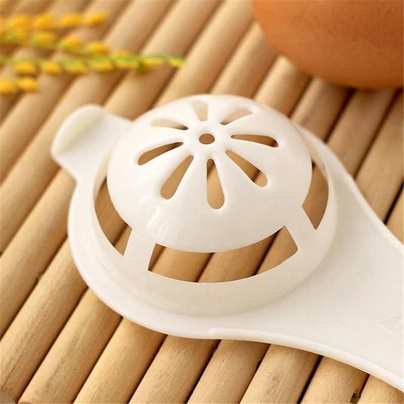 Eco Amigável Boa Qualidade Ferramenta Ovo Branco Gema de Ovo Separador Divisor Fácil Cozinhar Branco PP do Produto Comestível Plástico Cozinha SieveGadget