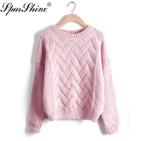 2017 Autumn Winter Women Sweaters And Pullovers Plaid Thick Knitted Sweater Female Loose Pull Femme Sueter