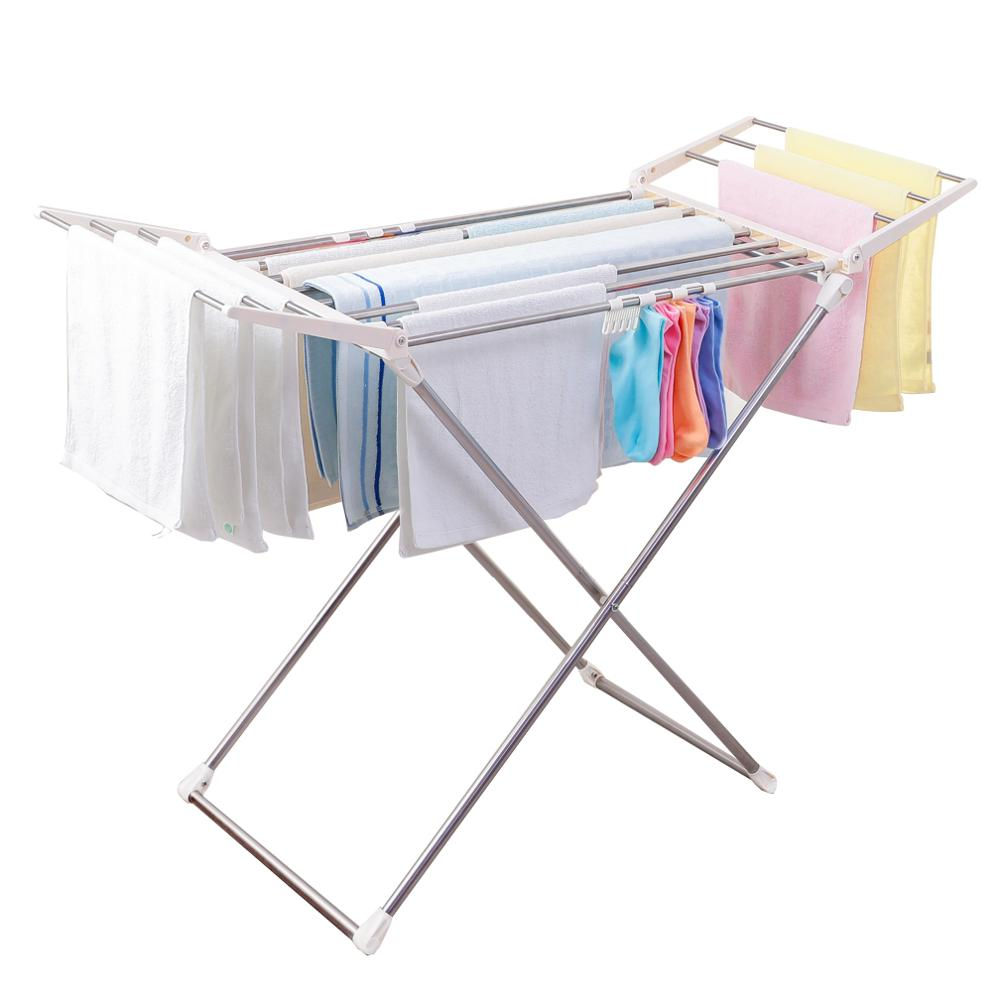 BYN Metal Wing Style Foldable Clothes Drying Racks For Laundry Indoor Outdoor Collapsible Towel Rod Rack With Socks Clip DQ1808