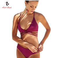 Ariel Sarah Brand Bikinis Women 2017 Bandage Swimsuit Swimwear Women Bikinis Set Sexy Solid Color Bathing