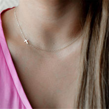 Women Gold Sideways Cross Necklace Tiny cross Celebrity Gold / Sliver Filled Chain choker Necklace Collier Jewelry bijoux