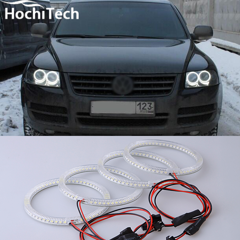 Excellent SMD 5050 LED white headlight halo angel demon eyes kit for Volkswagen VW Touareg 2003 2004 2005 2006 2pcs purple blue red green led demon eyes for bixenon projector lens hella5 q5 2 5inch and 3 0inch headlight angel devil demon