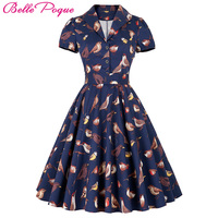 2016 Summer Women Dress Audrey Hepburn Style Short Sleeve Birds Print Party Gown Lapel Collar 50S