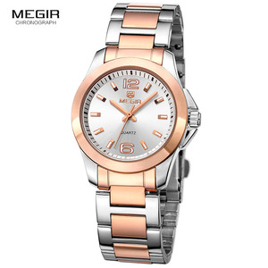 Image 2 - Megir 간단한 스틸 쿼츠 손목 시계 여성을위한 미니멀리즘 아날로그 시계 여성 시계 시간 방수 Relogios 5006L 7N0