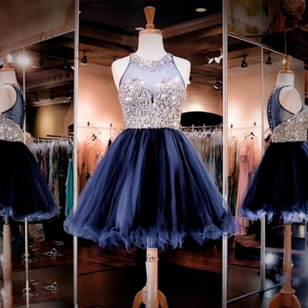 Модные Бальные платья 2016 Кристалл Короткие 8 Класс Выпускной выпускного вечера Robe De коктейль платье Vestido De formatura Курто